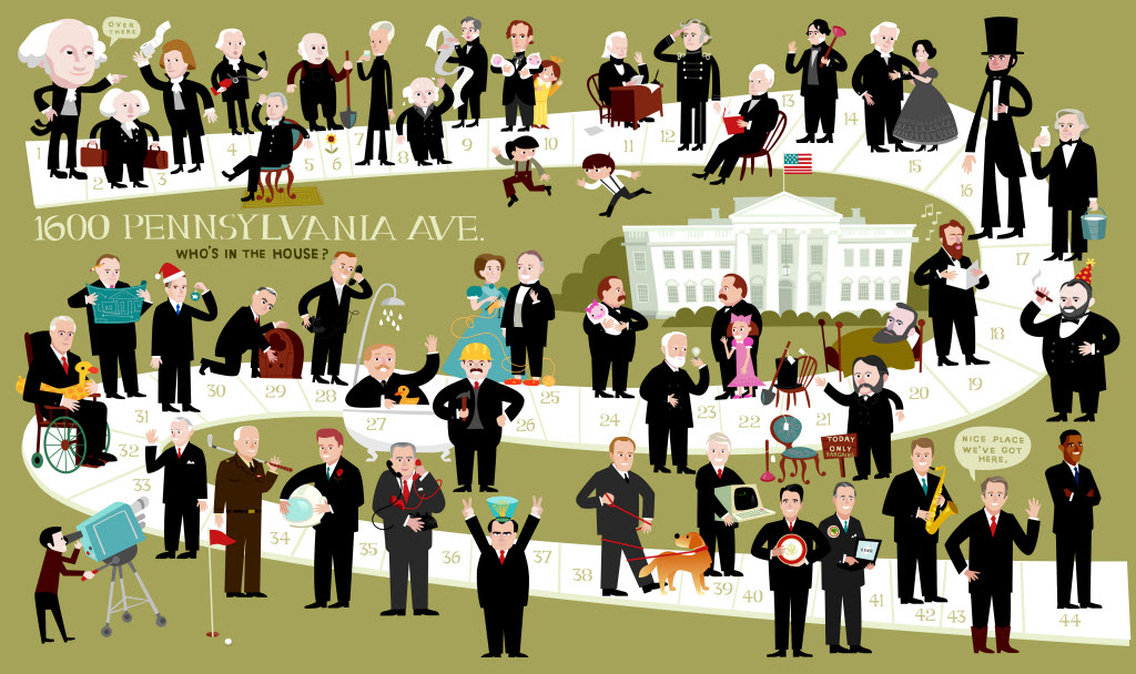 OUR WHITE HOUSE. Illustration © 2008 by Bob Kolar. Reproduced by permission of the publisher, Candlewick Press, Somerville, MA.