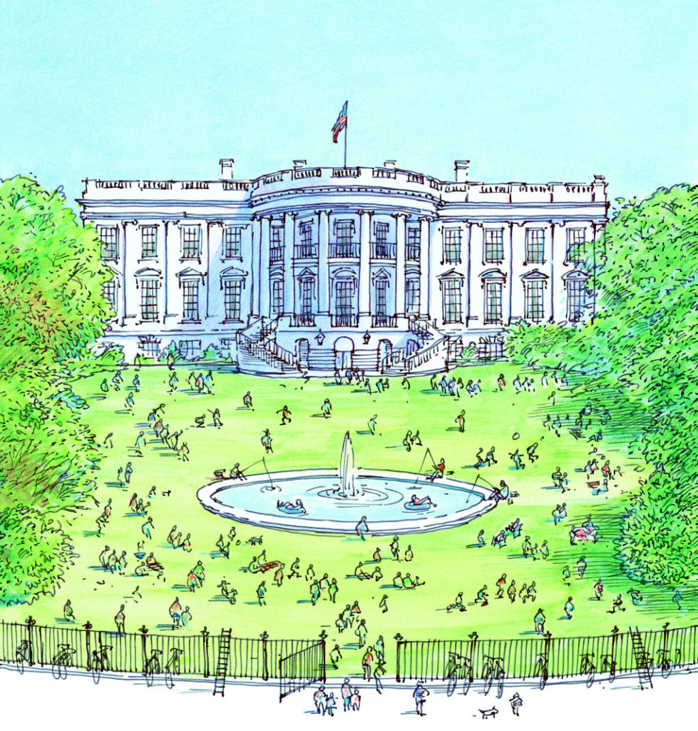 OUR WHITE HOUSE. Illustration © 2008 by David Macaulay. Reproduced by permission of the publisher, Candlewick Press, Somerville, MA.