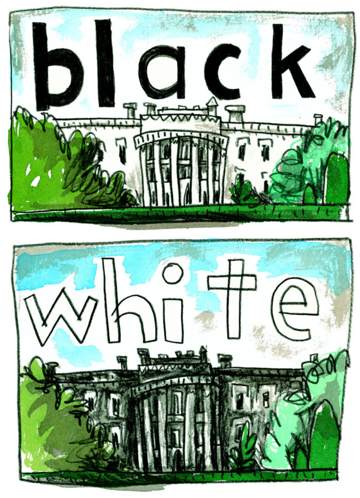 OUR WHITE HOUSE. Illustration © 2008 by Chris Raschka. Reproduced by permission of publisher, Candlewick Press, Somerville, MA.