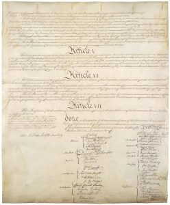 Pictured here is the fourth page of the U.S. Constitution, which includes the 39 signatures of the delegates. All four pages of the document are on permanent display at the National Archives. Photograph courtesy of the National Archives.