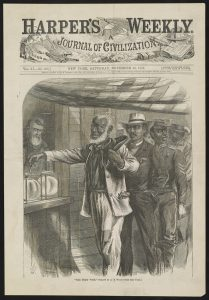 """""""The First Vote,"""" a wood engraving drawn by Alfred Rudolph Waud and published November 16, 1867 shows African American men, in dress indicative of their professions, in a queue waiting their turn to vote. Courtesy of the Library of Congress."""