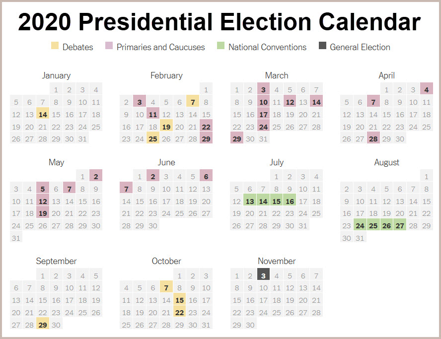 2020 Presidential Election Calendar by The New York Times