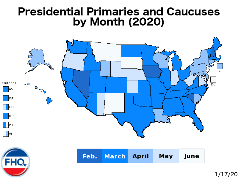 In this primary and caucus map, the earlier a contest is scheduled in 2020, the darker the color in which the state is shaded. Texas, for instance, is a deeper shade of blue in March than New Mexico is in June. States that are bisected vertically are states where the state parties have different dates for their caucuses and/or primaries. The left section is shaded to reflect the state Democratic Party's scheduling while the right is for the state Republican Party's decision on the timing of its delegate selection event (see Arizona). This holds true for states—typically caucus states or states that have canceled contests—with a history of different dates across parties. Graphic courtesy of Political Scientist Dr. Josh Putnam, University of Georgia. Source: http://frontloading.blogspot.com/p/2020-presidential-primary-calendar.html