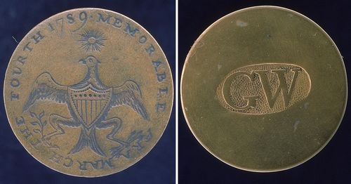 Brass commemorative clothing buttons of President George Washington's Inauguration (Courtesy of National Museum of American History)