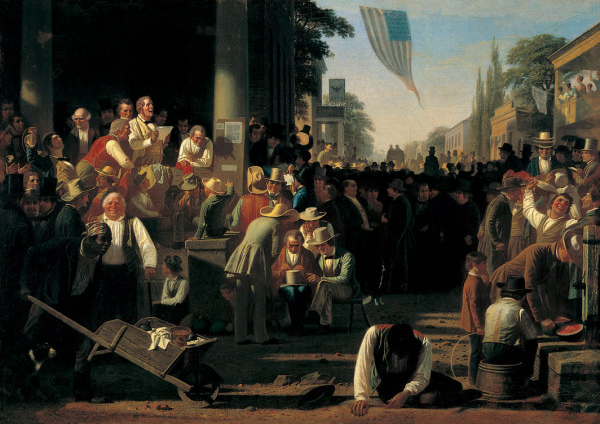 The Verdict of the People by George Caleb Bingham (1854), was the featured painting at the inauguration of President Trump. (Source: https://news.stlpublicradio.org/arts/2016-12-16/binghams-verdict-of-the-people-to-take-center-stage-at-trumps-inauguration)