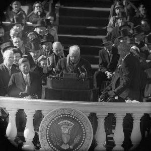 """Poet Robert Frost delivered the poem """"A Gift Outright"""" at the inauguration of President John F. Kennedy in 1961."""